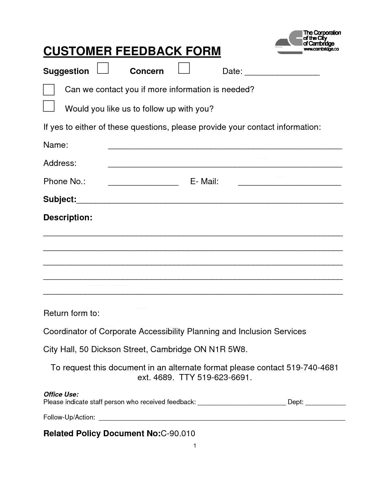 004 Simple Customer Satisfaction Survey Template Word Inspiration  Doc FormFull