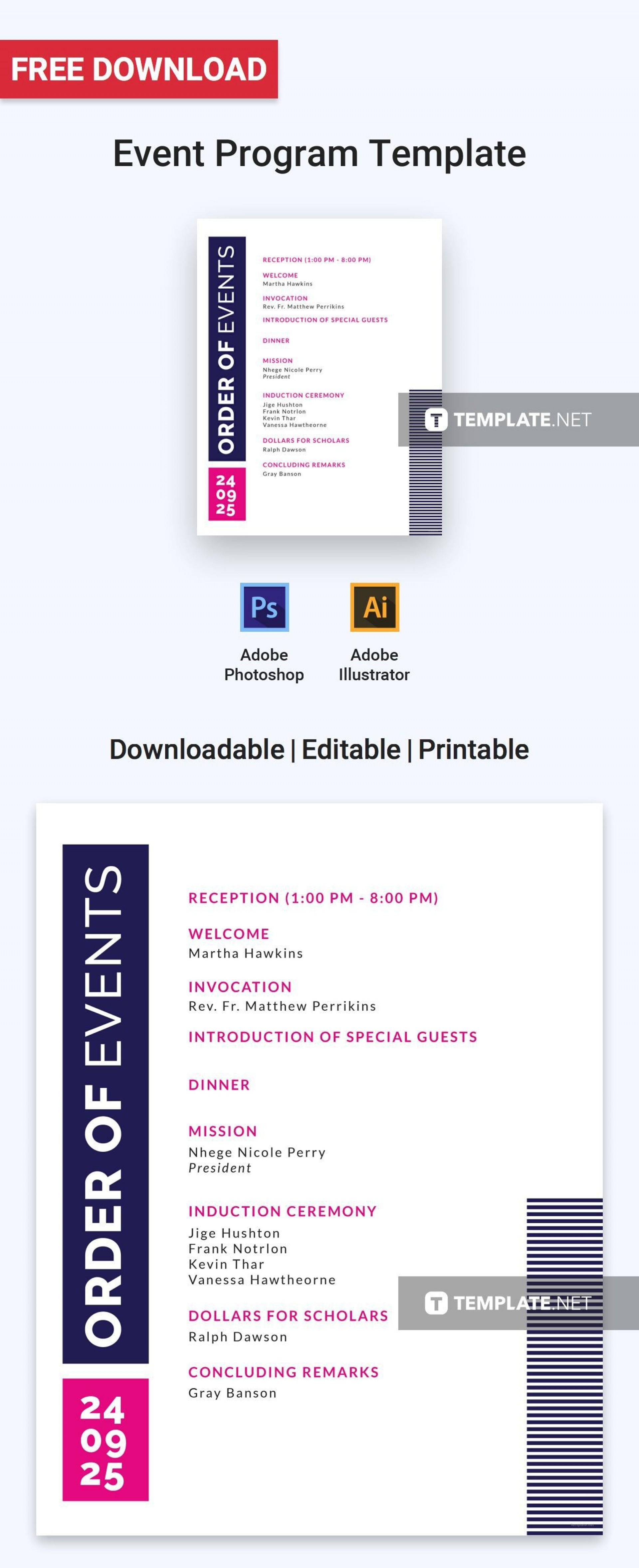 004 Simple Free Event Program Template Concept  Templates Half Fold Online Download1920