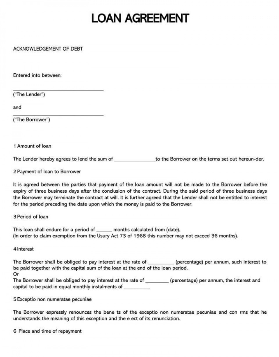 004 Simple Free Loan Agreement Template Word Design  Uk Personal Microsoft South Africa960