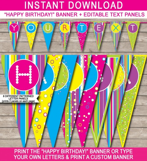 004 Simple Happy Birthday Banner Template Image  Publisher Editable Pdf480