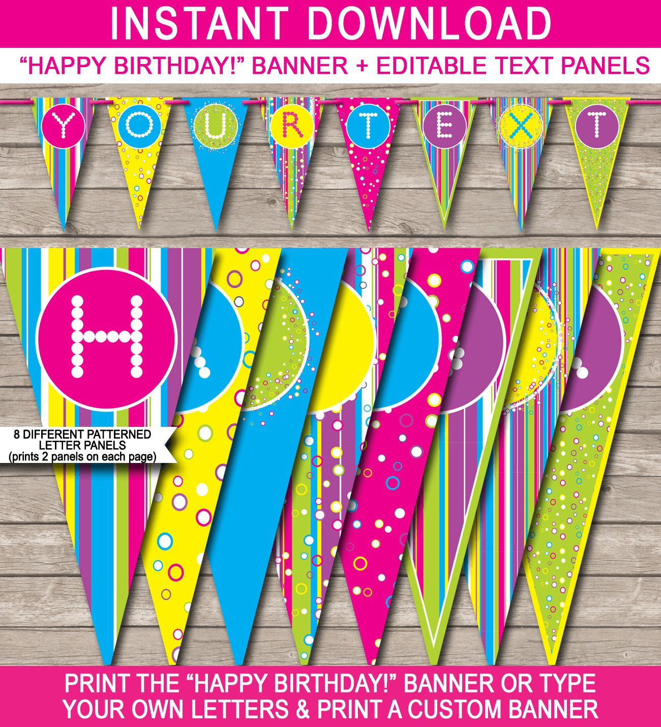 004 Simple Happy Birthday Banner Template Image  Publisher Editable PdfFull