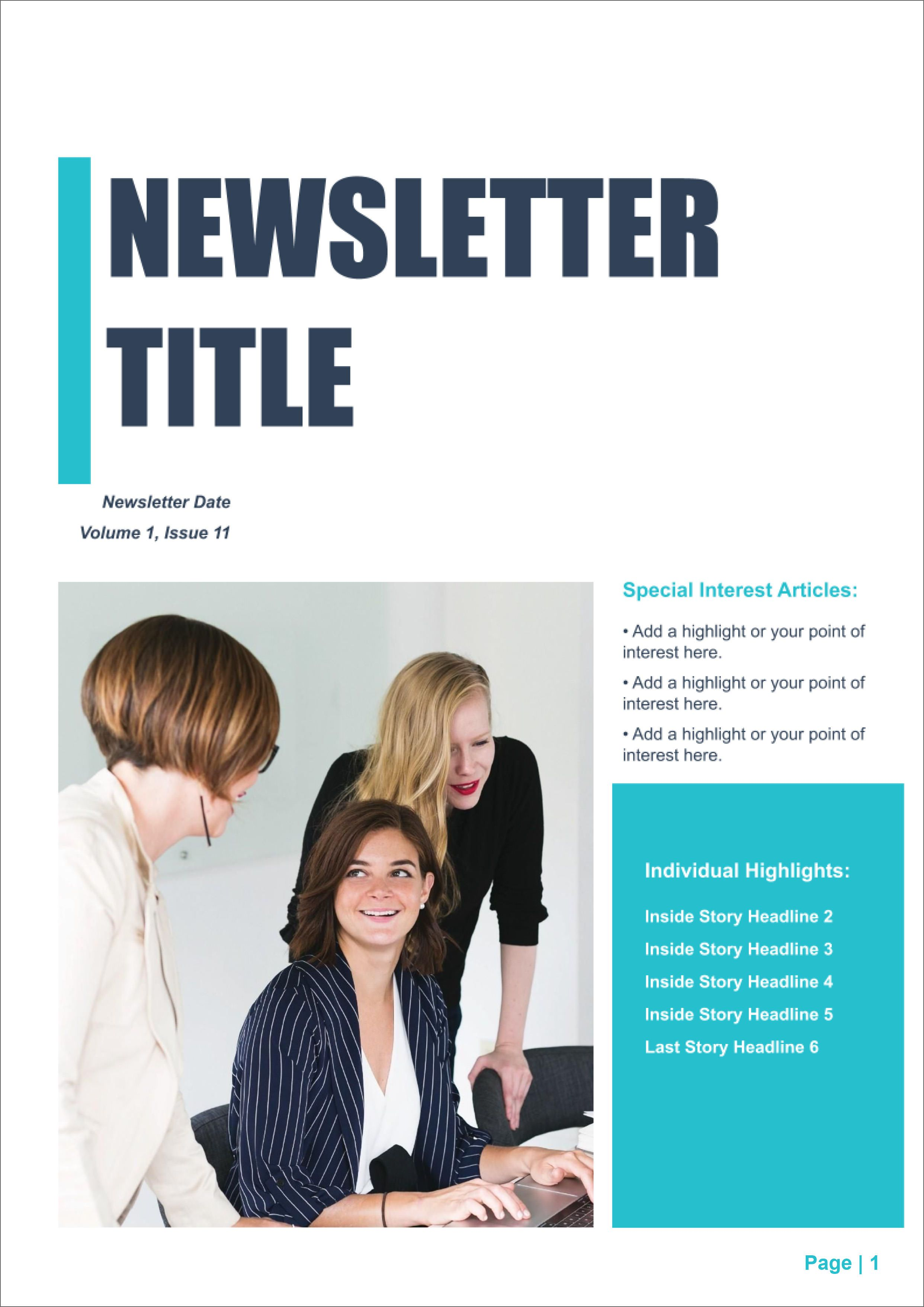 004 Simple High School Newsletter Template Free Download Inspiration Full