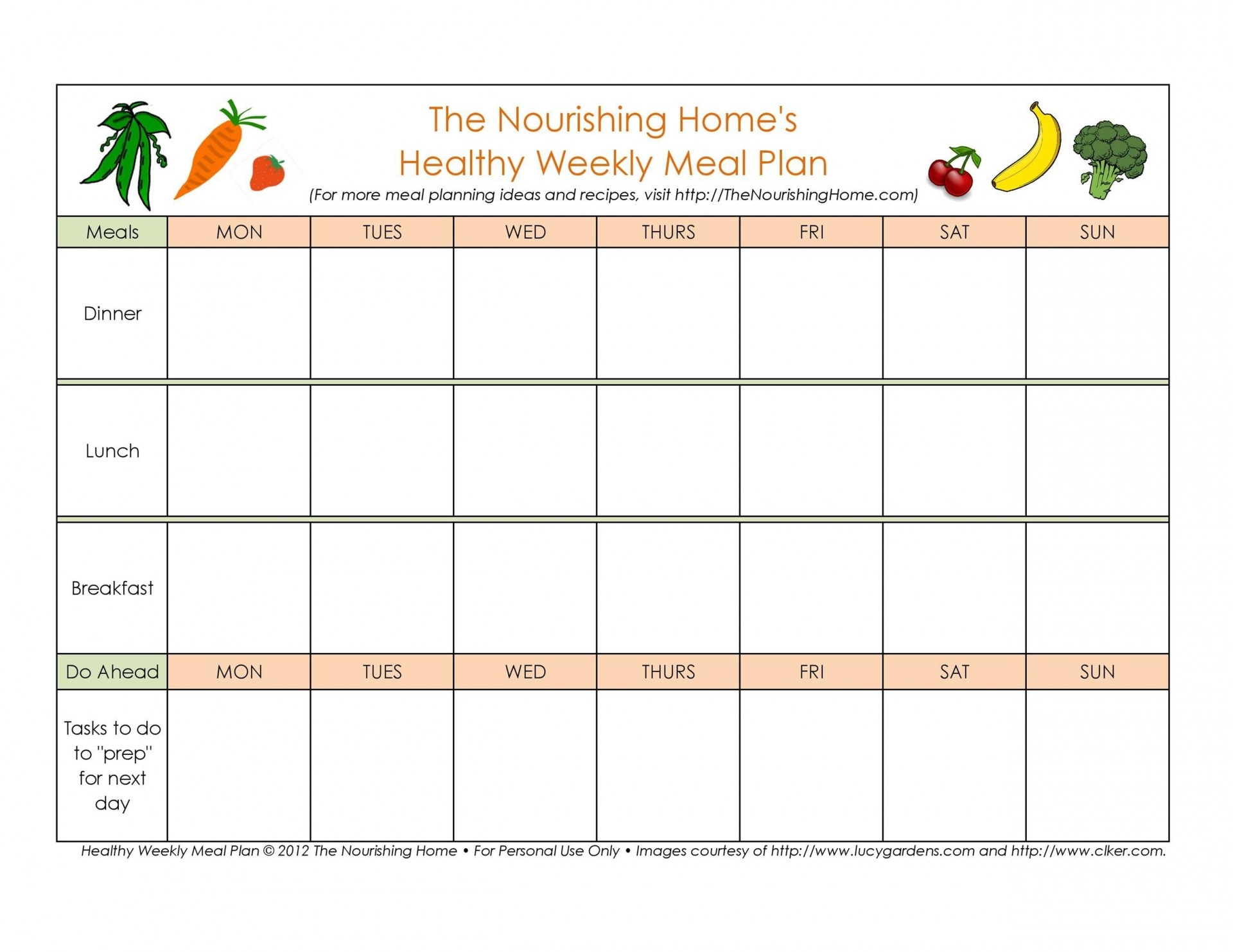004 Simple Meal Plan Template Free Design  Sheet Pdf Printable Daily1920
