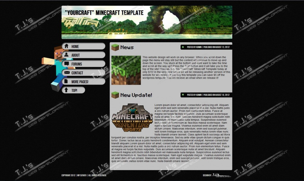 004 Simple Minecraft Website Template Html Free Download Concept Large