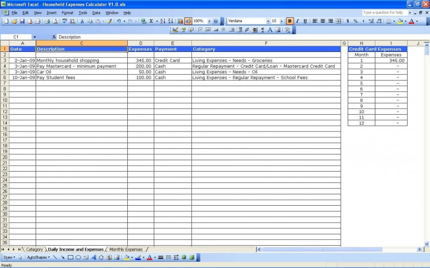 004 Simple Personal Expense Spreadsheet Excel Template Picture  Monthly Budget