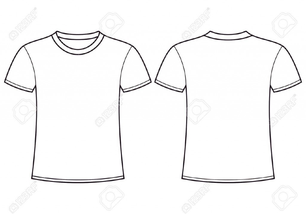 004 Simple Plain T Shirt Template Design  Blank Front And BackLarge