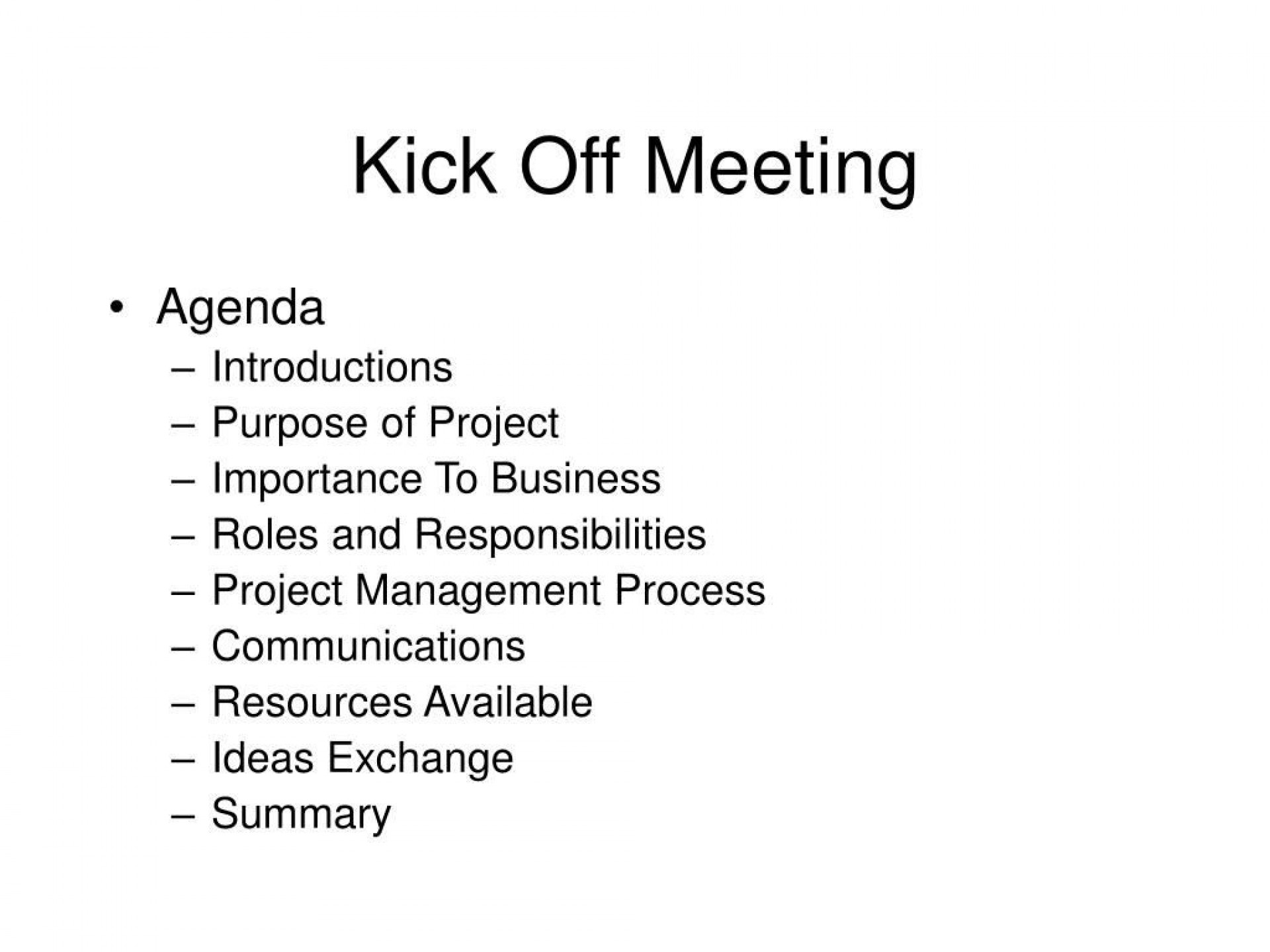 004 Simple Project Kickoff Meeting Agenda Example Sample  Management Template1920
