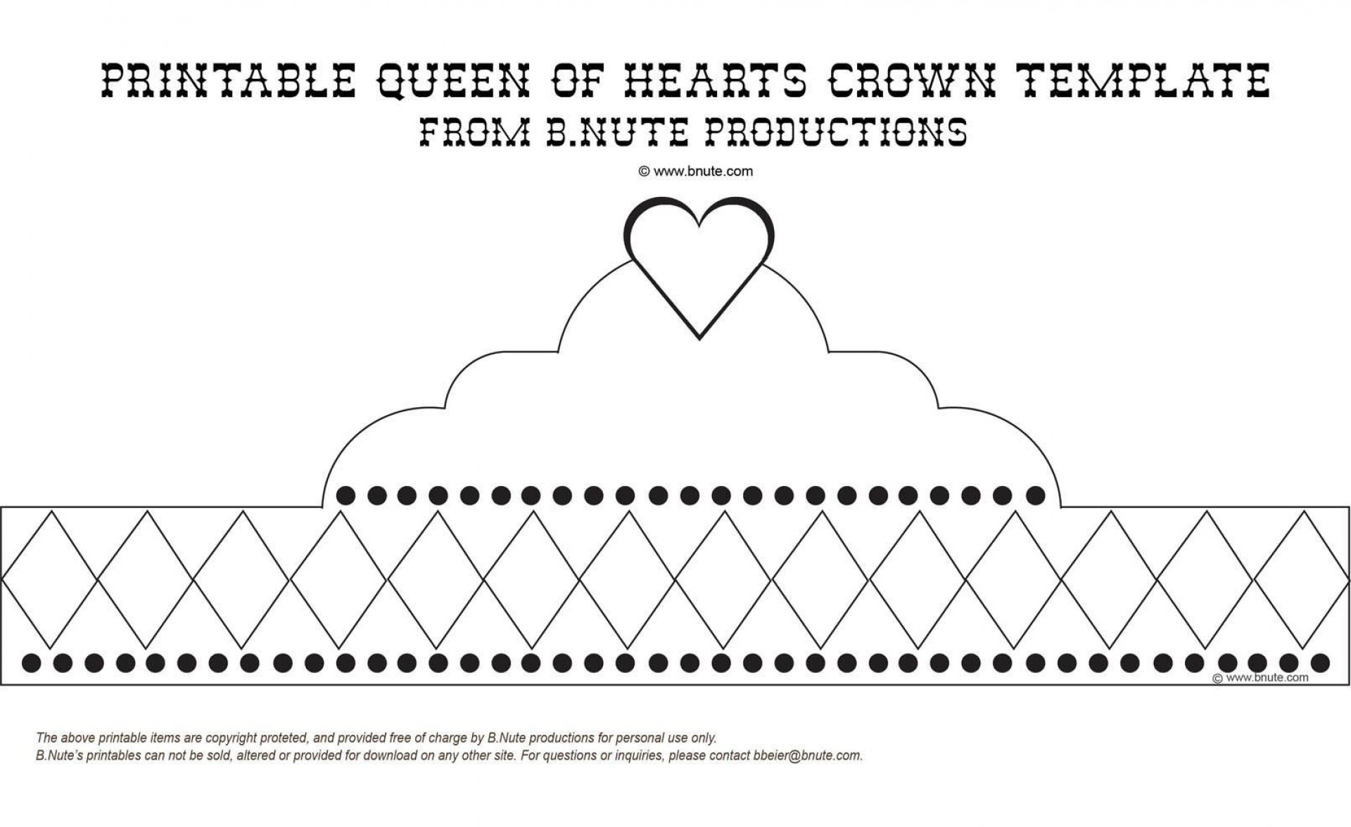 004 Simple Queen Of Heart Crown Printable Highest Clarity  Template1920