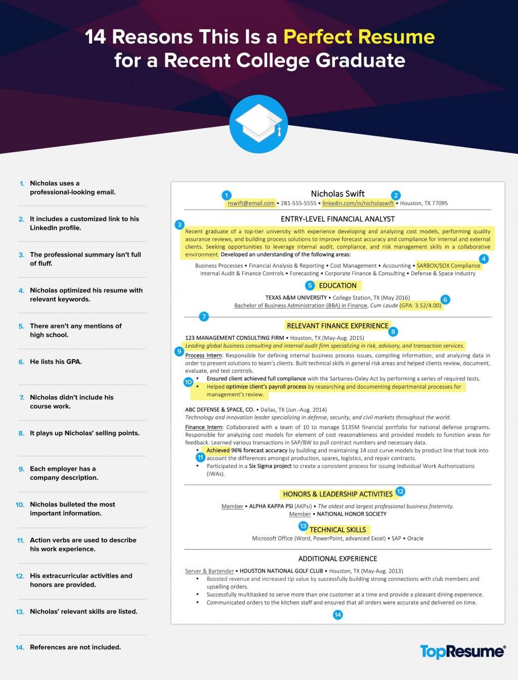 004 Simple Recent College Graduate Resume Template Idea  WordLarge