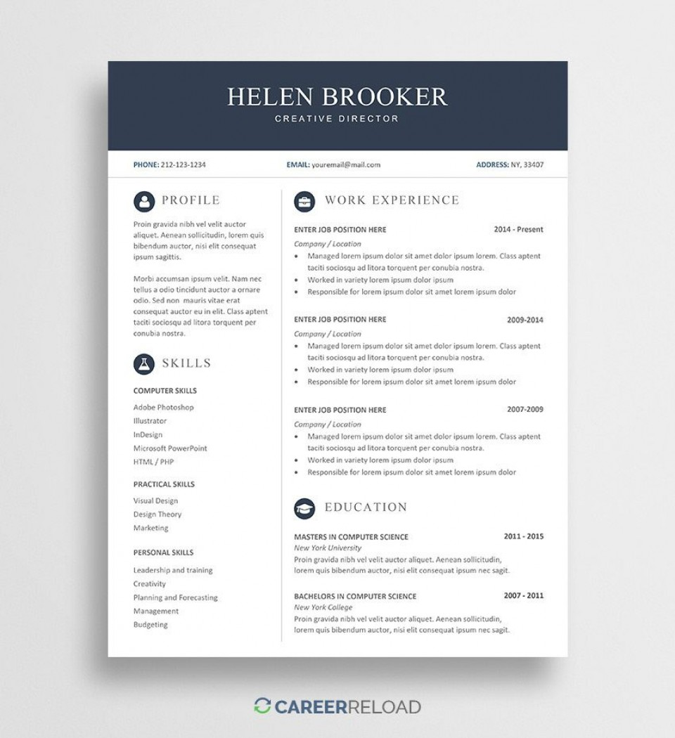 004 Simple Resume Template Download Word Image  Cv Free 2019 Example File960