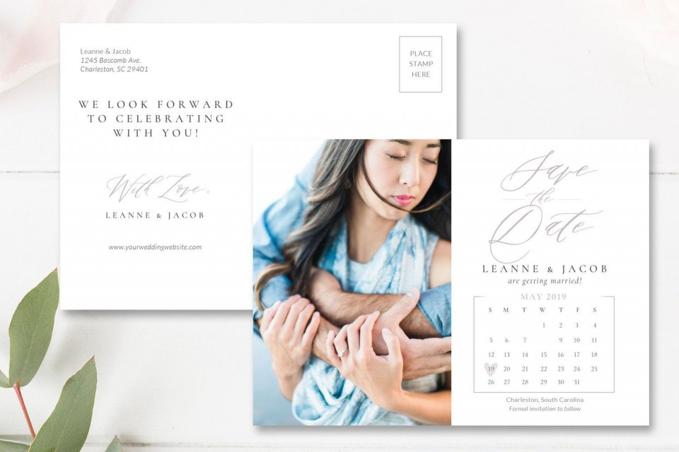 004 Simple Save The Date Postcard Template Inspiration  Diy Free Birthday960