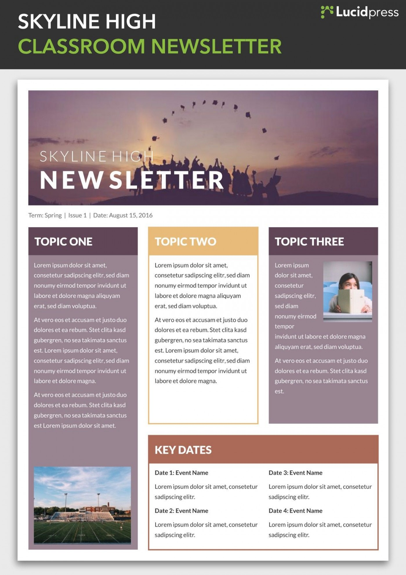 004 Simple School Newsletter Template Free Photo  Publisher Editable Counselor1400