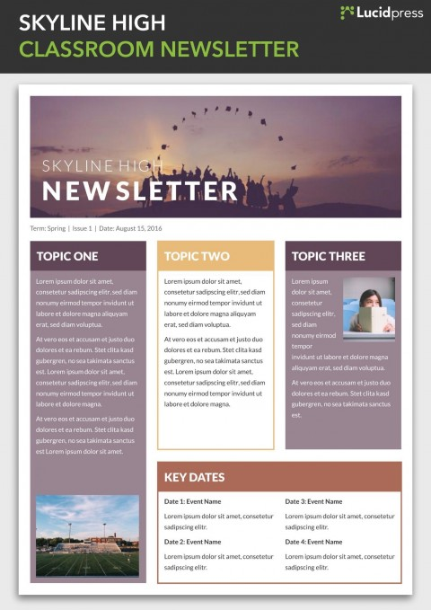 004 Simple School Newsletter Template Free Photo  Publisher Editable Counselor480