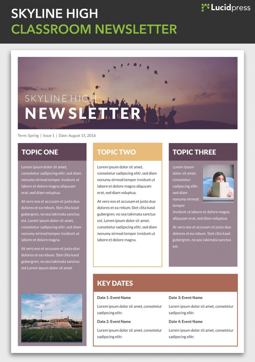 004 Simple School Newsletter Template Free Photo  Word Download Counselor868