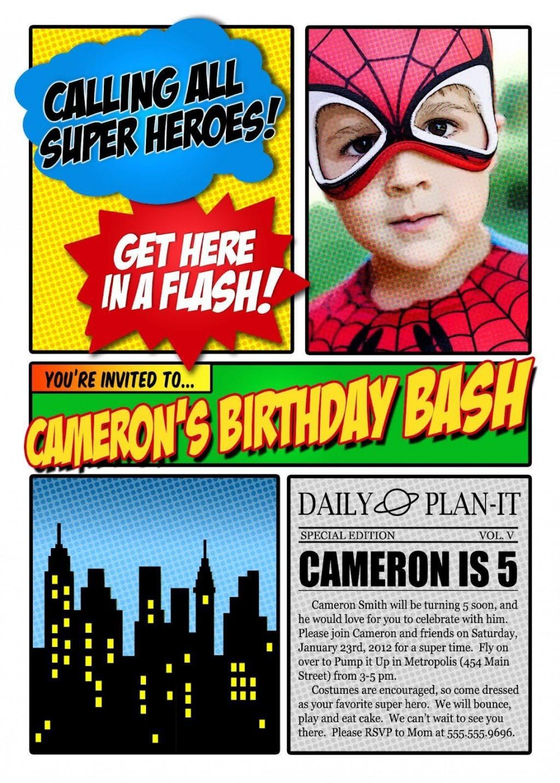 004 Simple Superhero Newspaper Invitation Template Free Idea Large