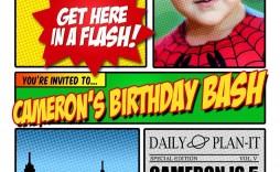 004 Simple Superhero Newspaper Invitation Template Free Idea
