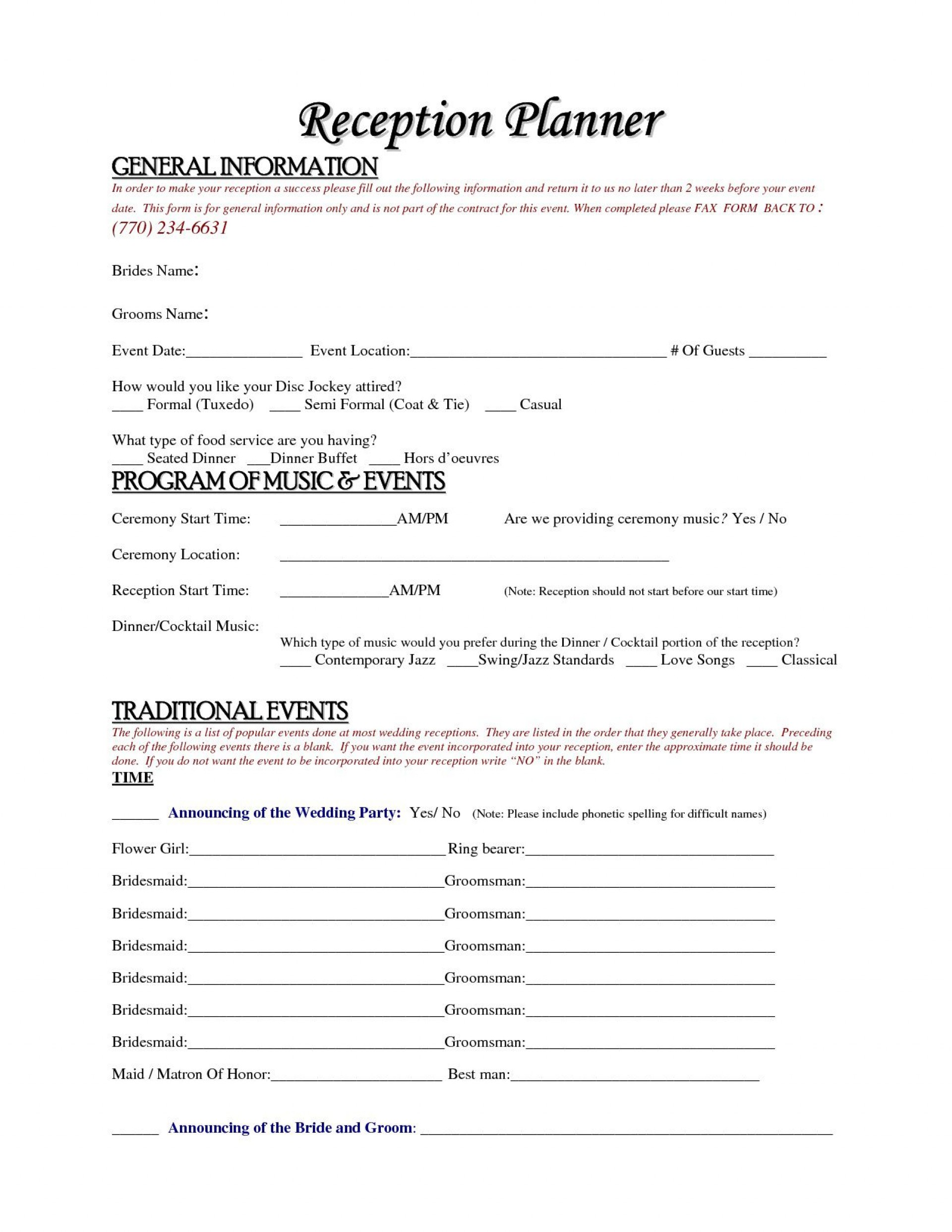 004 Simple Wedding Planner Contract Template Idea  Word Planning Coordinator Free1920