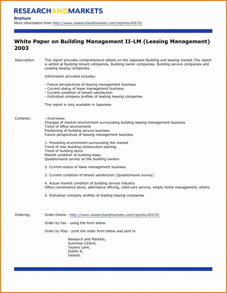 004 Simple White Paper Outline Template Example  Free Sample