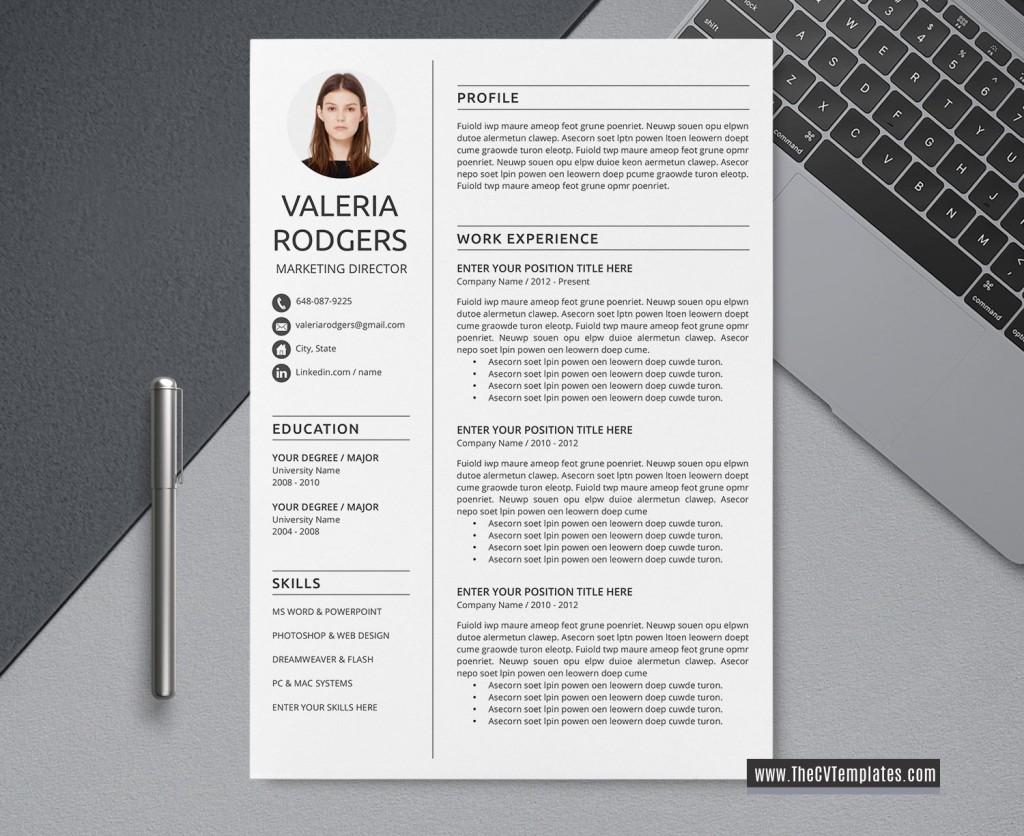 004 Simple Word Resume Template 2020 Image  Microsoft MLarge