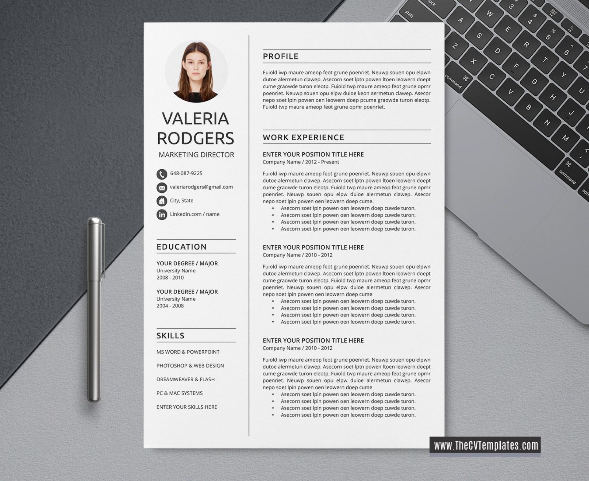 004 Simple Word Resume Template 2020 Image  Microsoft M1920