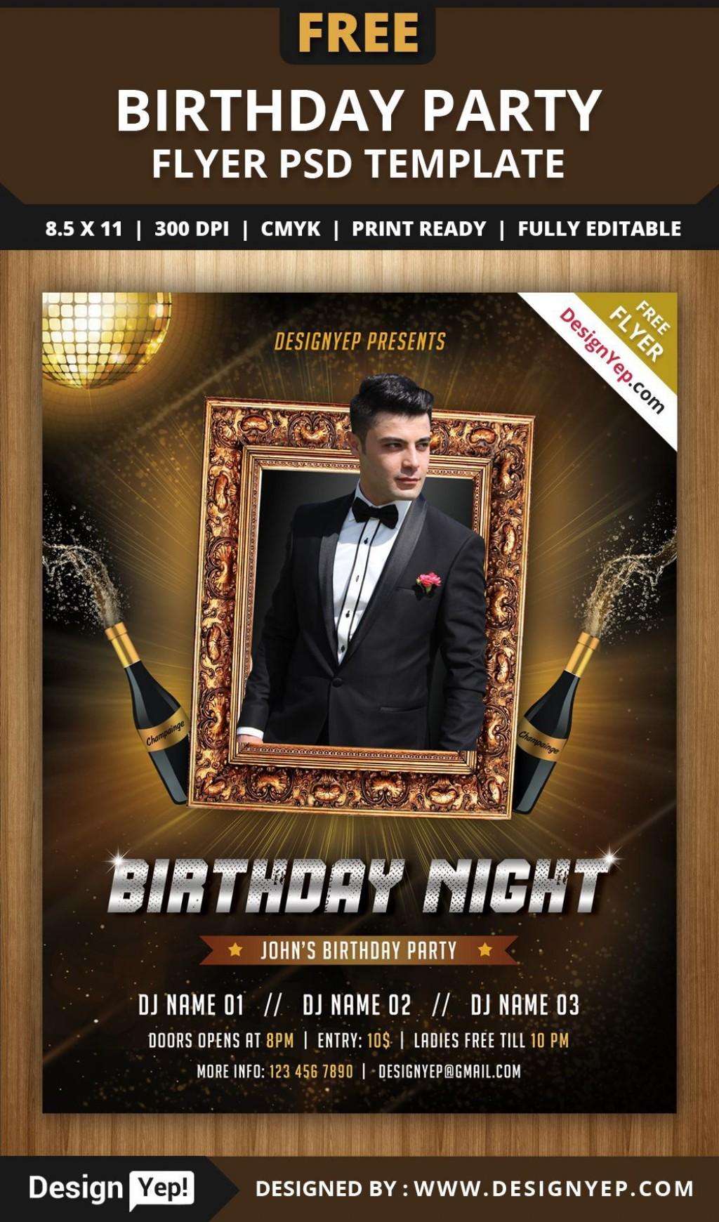 004 Singular Birthday Flyer Template Psd Free Download Sample Large