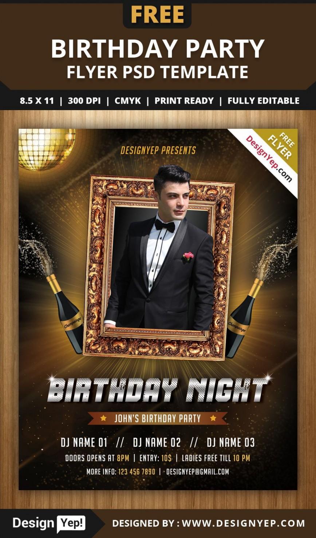004 Singular Birthday Flyer Template Psd Free Download Sample