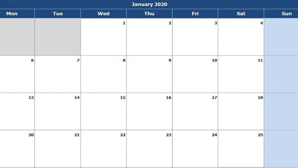 004 Singular Calendar 2020 Template Excel Concept  Monthly Free Uk In Format DownloadLarge