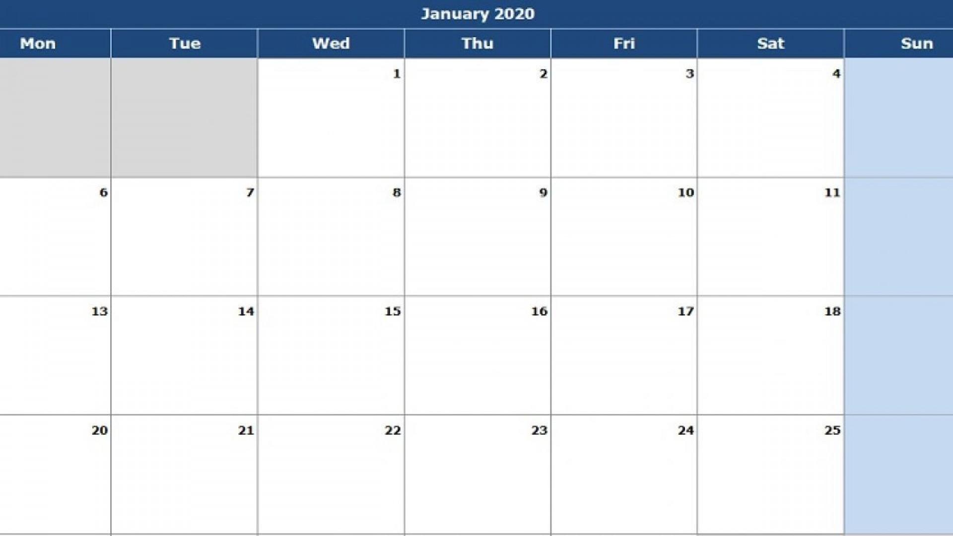 004 Singular Calendar 2020 Template Excel Concept  Monthly Free Uk In Format Download1920