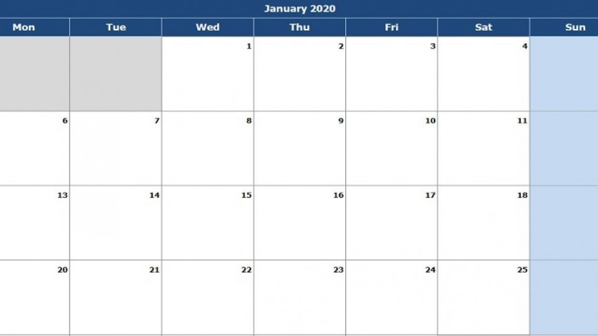 004 Singular Calendar 2020 Template Excel Concept  One Page Free Biweekly Payroll Format