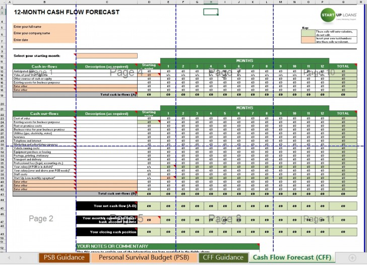 004 Singular Cash Flow Template Excel Free Example  Statement Download Format In728