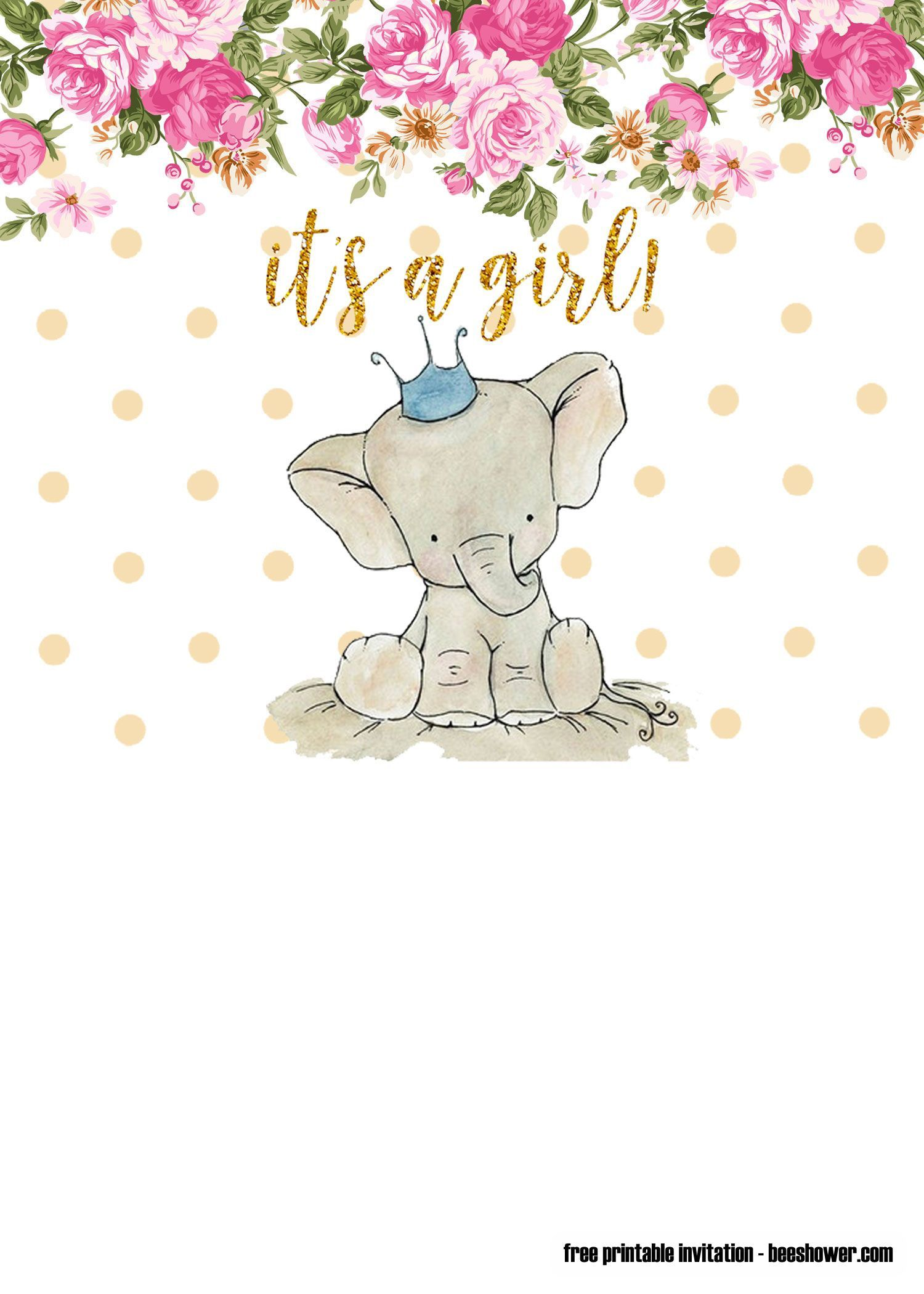 004 Singular Elephant Baby Shower Invitation Girl Pink Idea Full