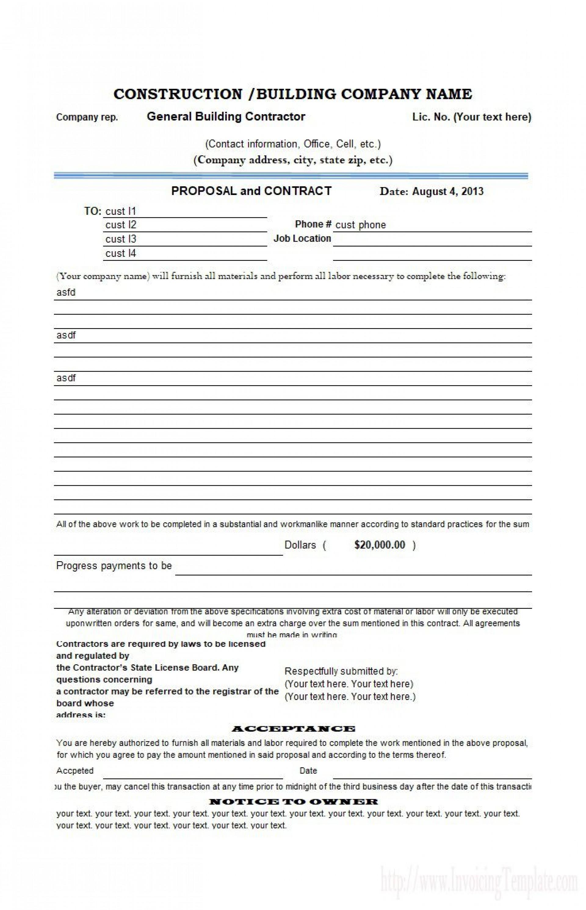 004 Singular Free Bid Proposal Template Highest Clarity  Printable Form Word Construction Download1920