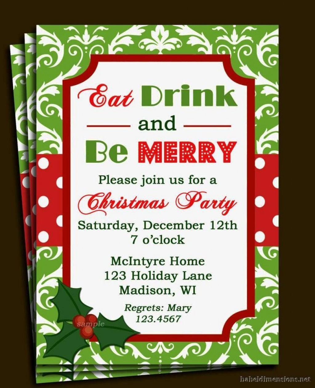 004 Singular Free Holiday Invitation Template Example  Online Party ChristmaLarge