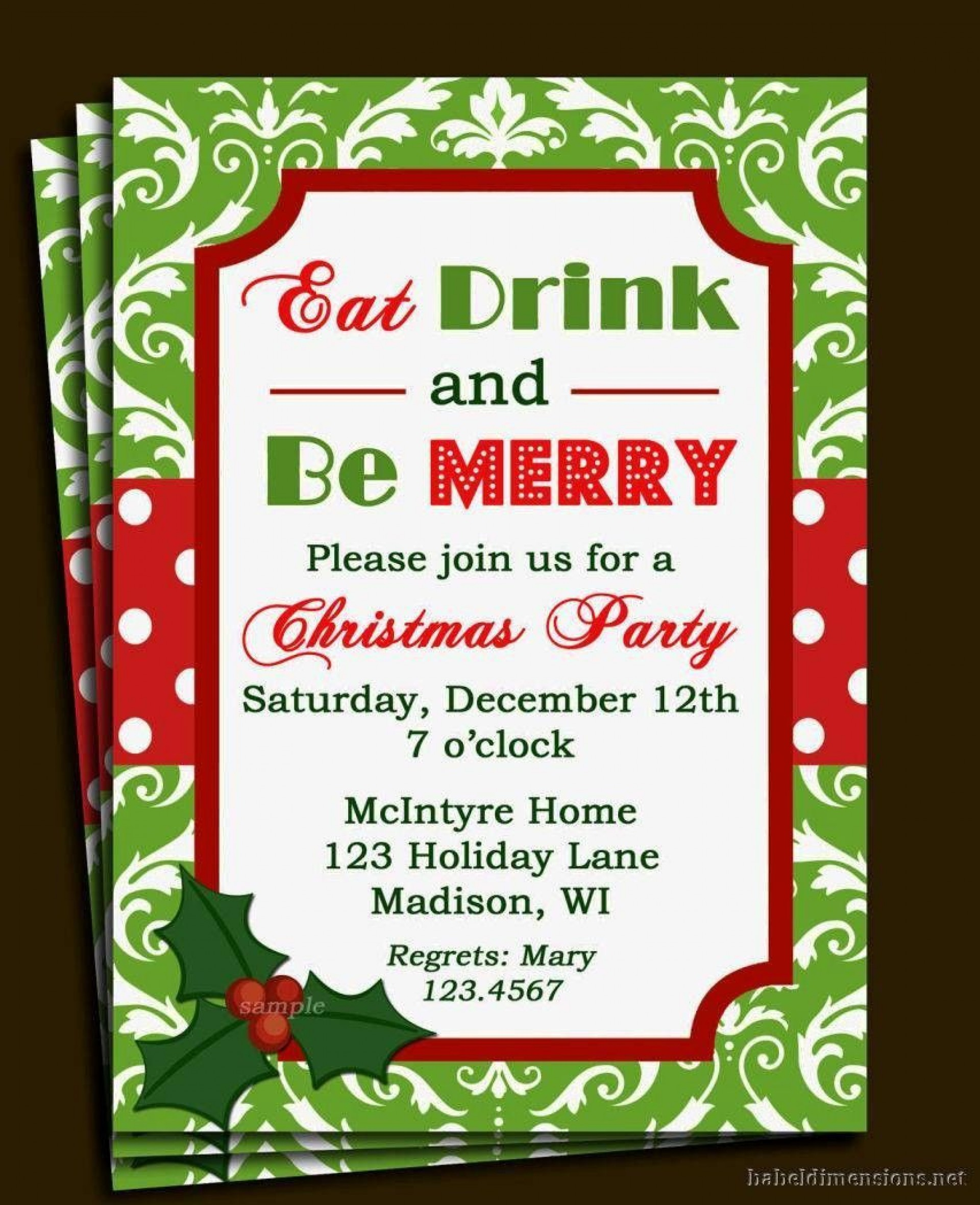 004 Singular Free Holiday Invitation Template Example  Online Party Christma1920