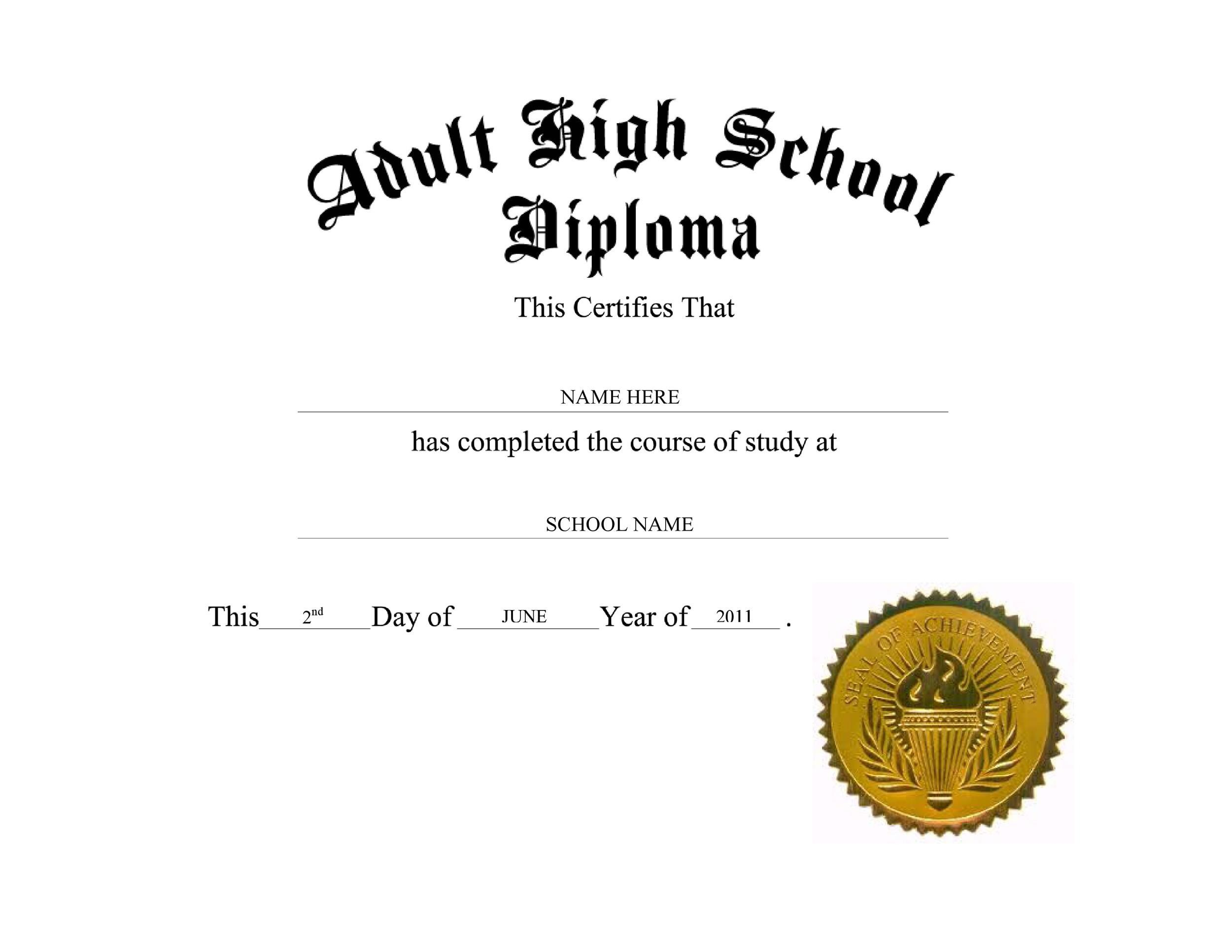 004 Singular Free Printable High School Diploma Template Highest Quality  With SealFull