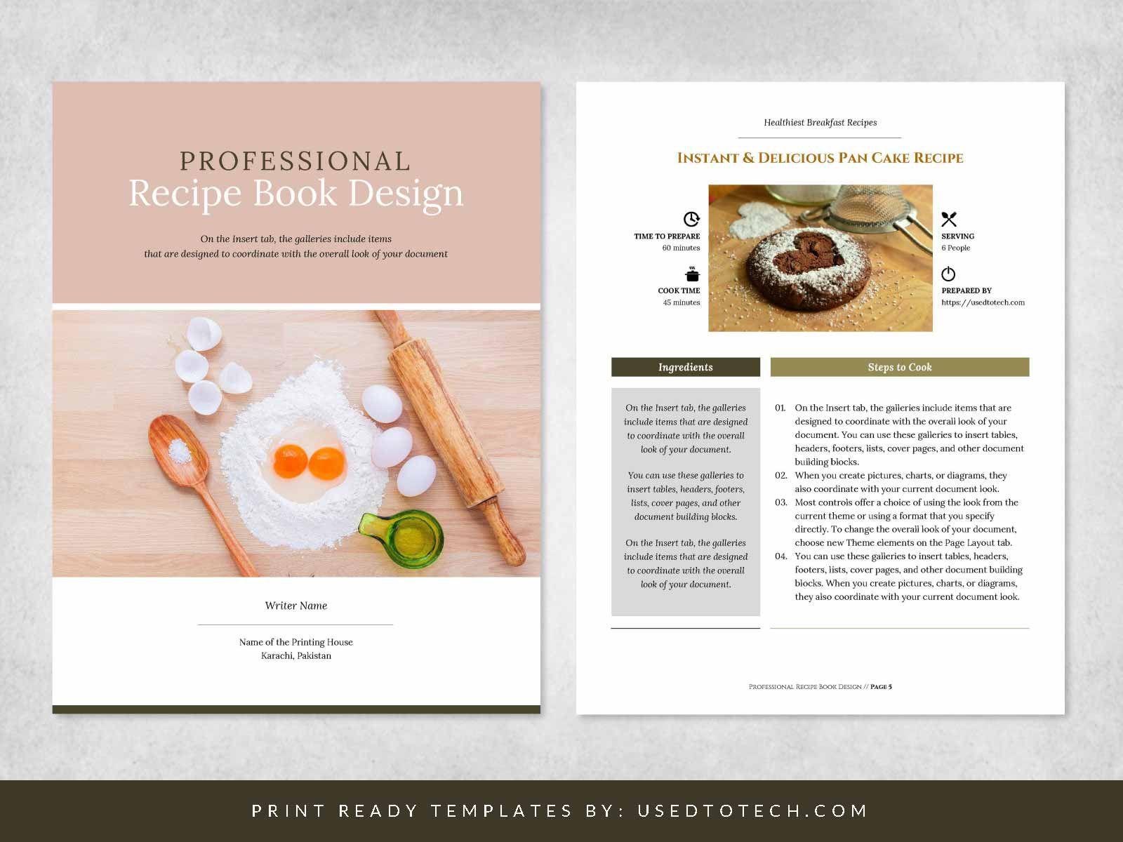 004 Singular Free Recipe Book Template Idea  Editable Cookbook For Microsoft Word IndesignFull
