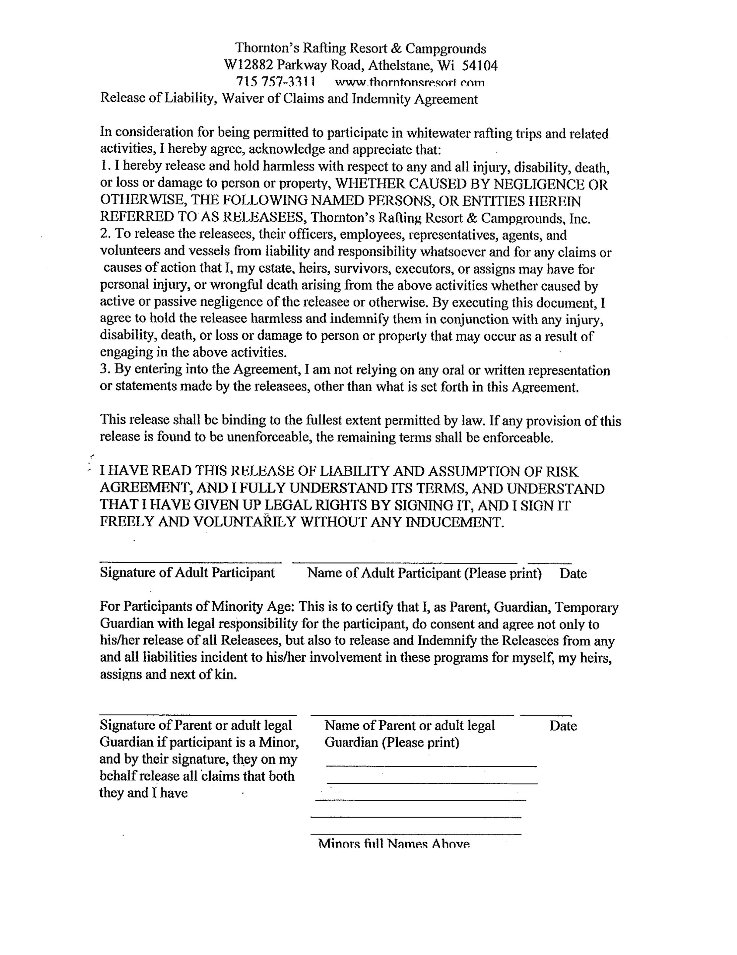 004 Singular Liability Release Form Template Image  Free GeneralFull