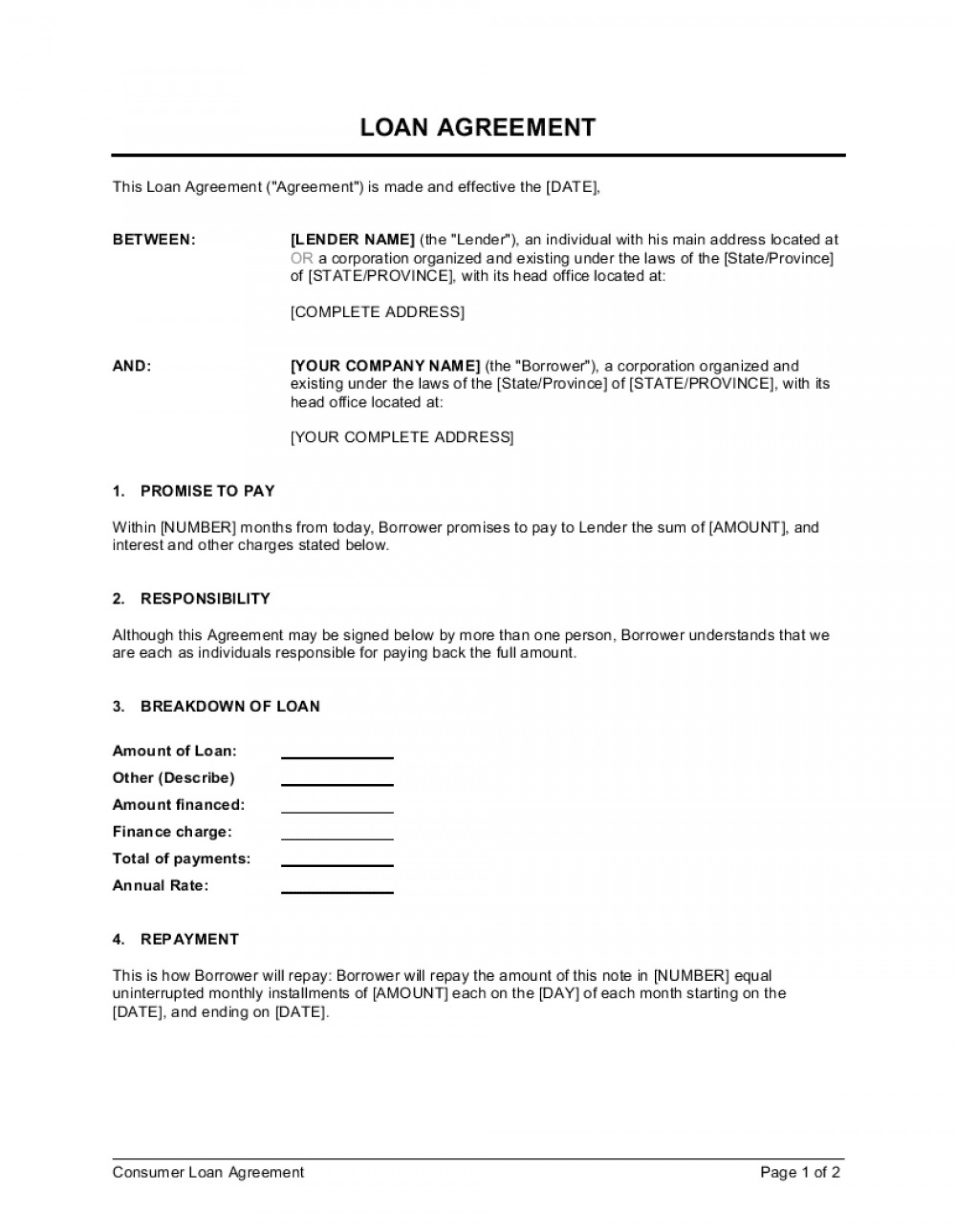 004 Singular Loan Agreement Template Free Photo  Word Nz Family Uk1920