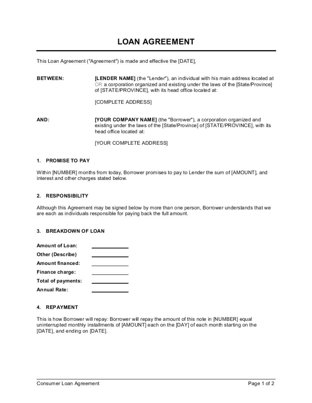 004 Singular Loan Agreement Template Free Photo  Word Nz Family UkFull