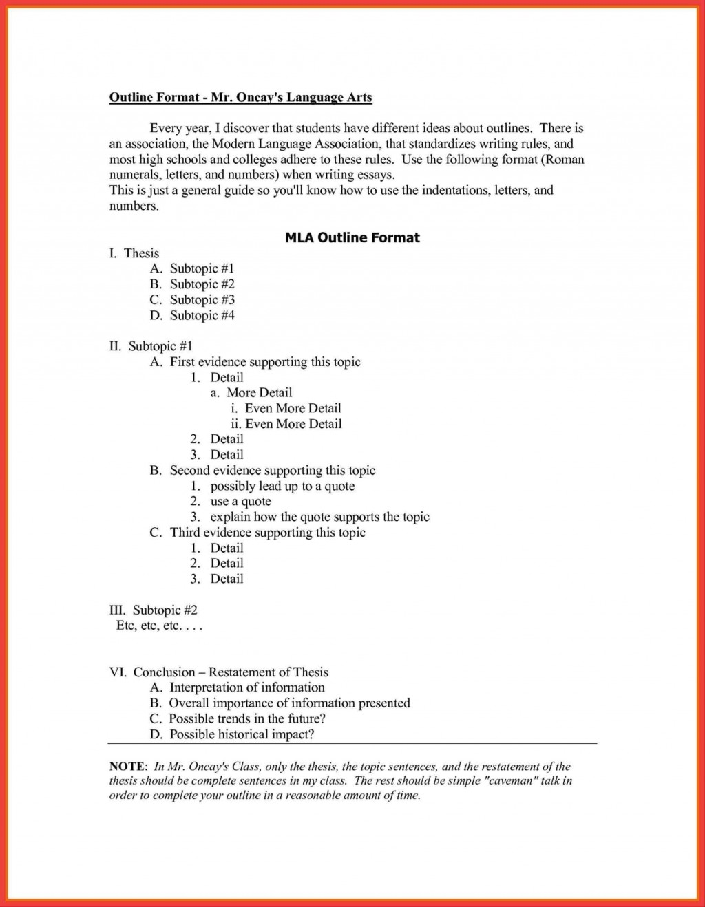 004 Singular Mla Format Outline Template High Definition  Research PaperLarge