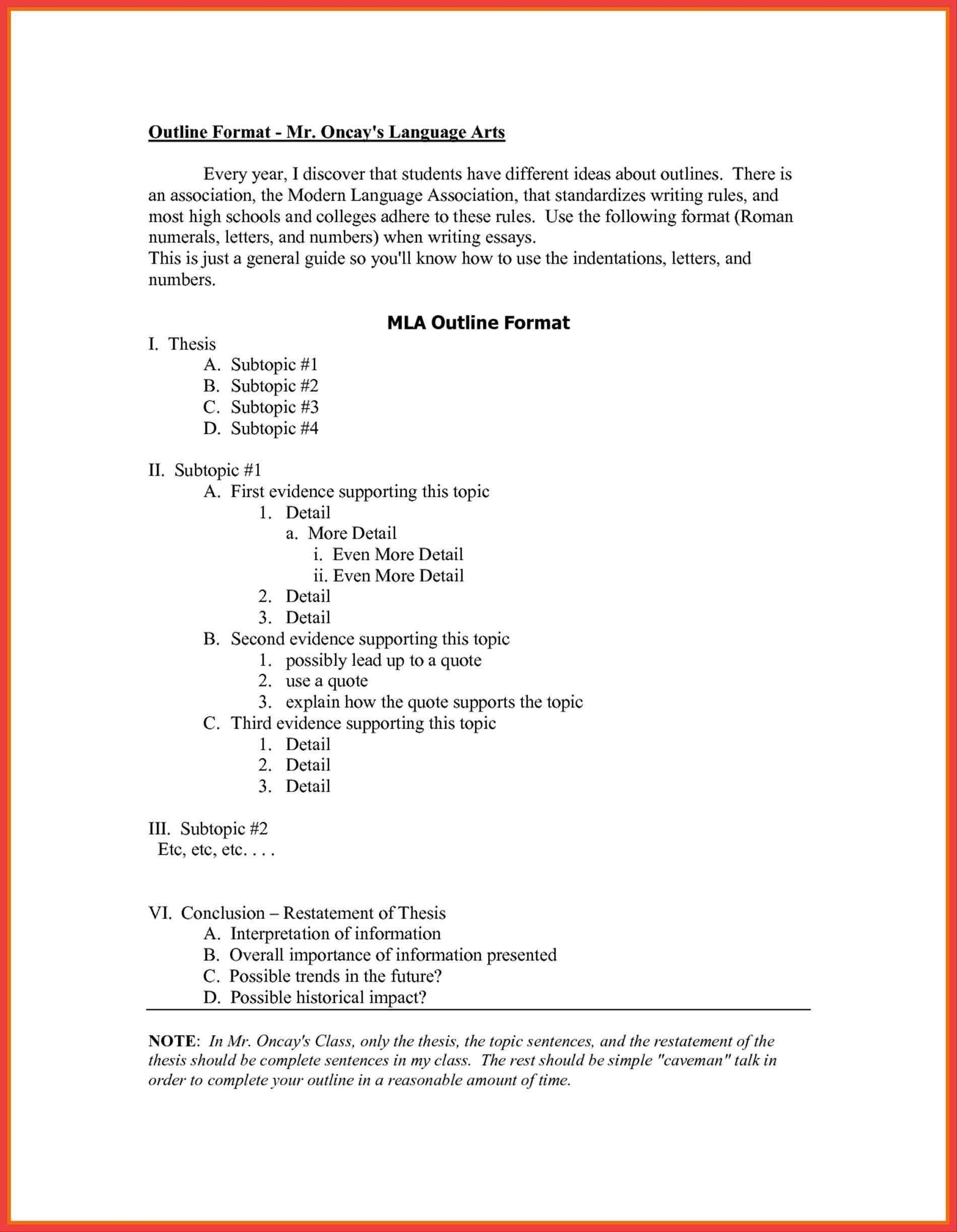 004 Singular Mla Format Outline Template High Definition  Research PaperFull