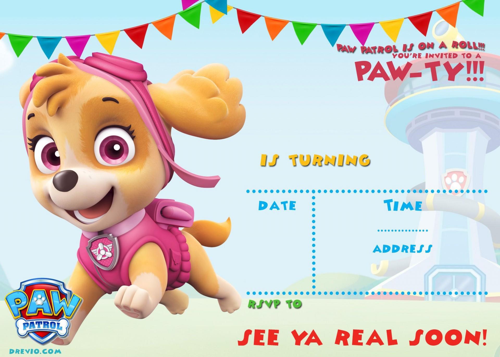 004 Singular Paw Patrol Birthday Invitation Template Highest Quality  Party Invite Wording Skye Free1920
