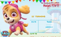 004 Singular Paw Patrol Birthday Invitation Template Highest Quality  Party Invite Wording Skye Free