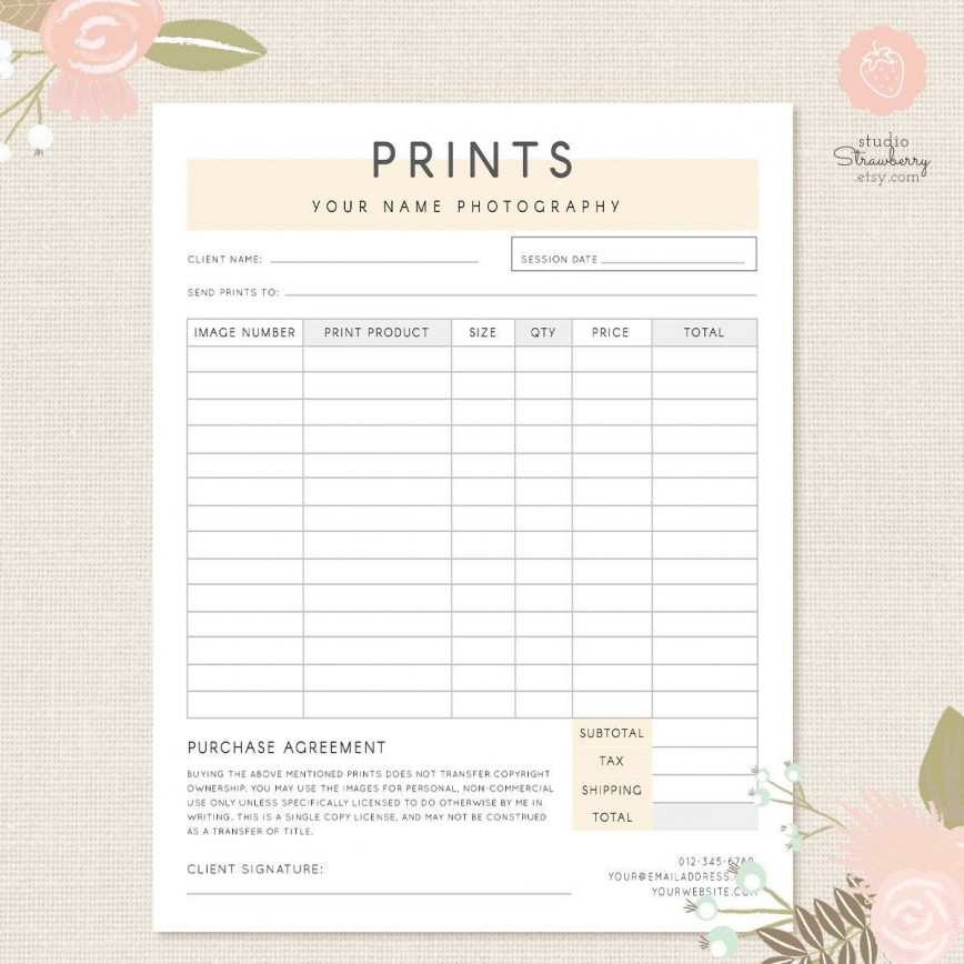 Photography Order Form Template Addictionary