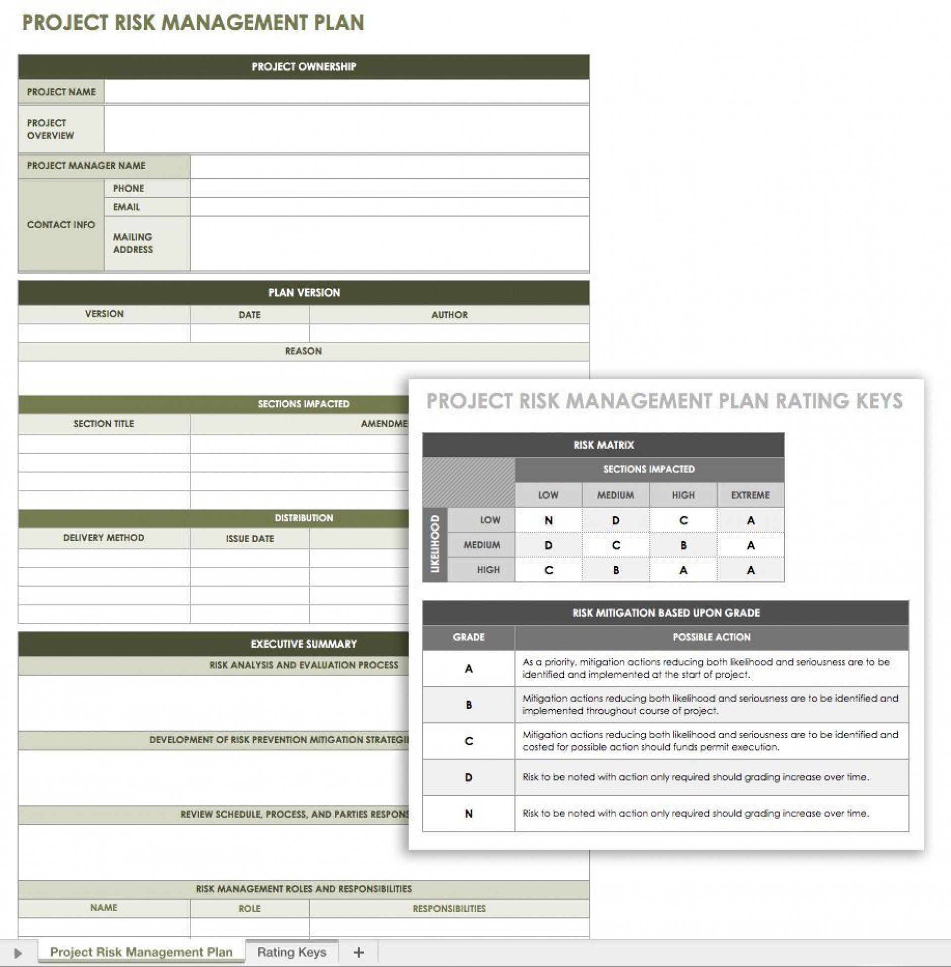 004 Singular Project Risk Management Plan Template Excel Idea  Free1920