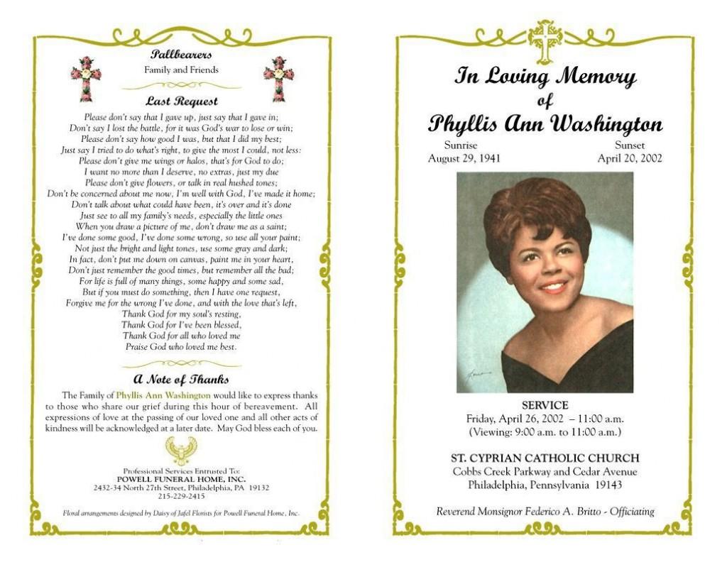 004 Singular Sample Wording For Funeral Program Photo  ProgramsLarge