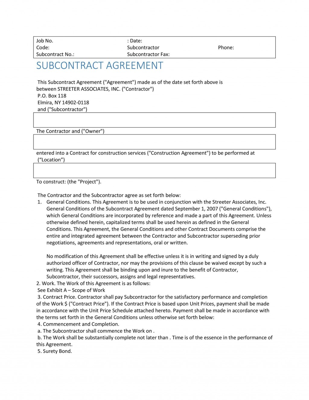 004 Singular Subcontractor Contract Template Free Example  UkLarge