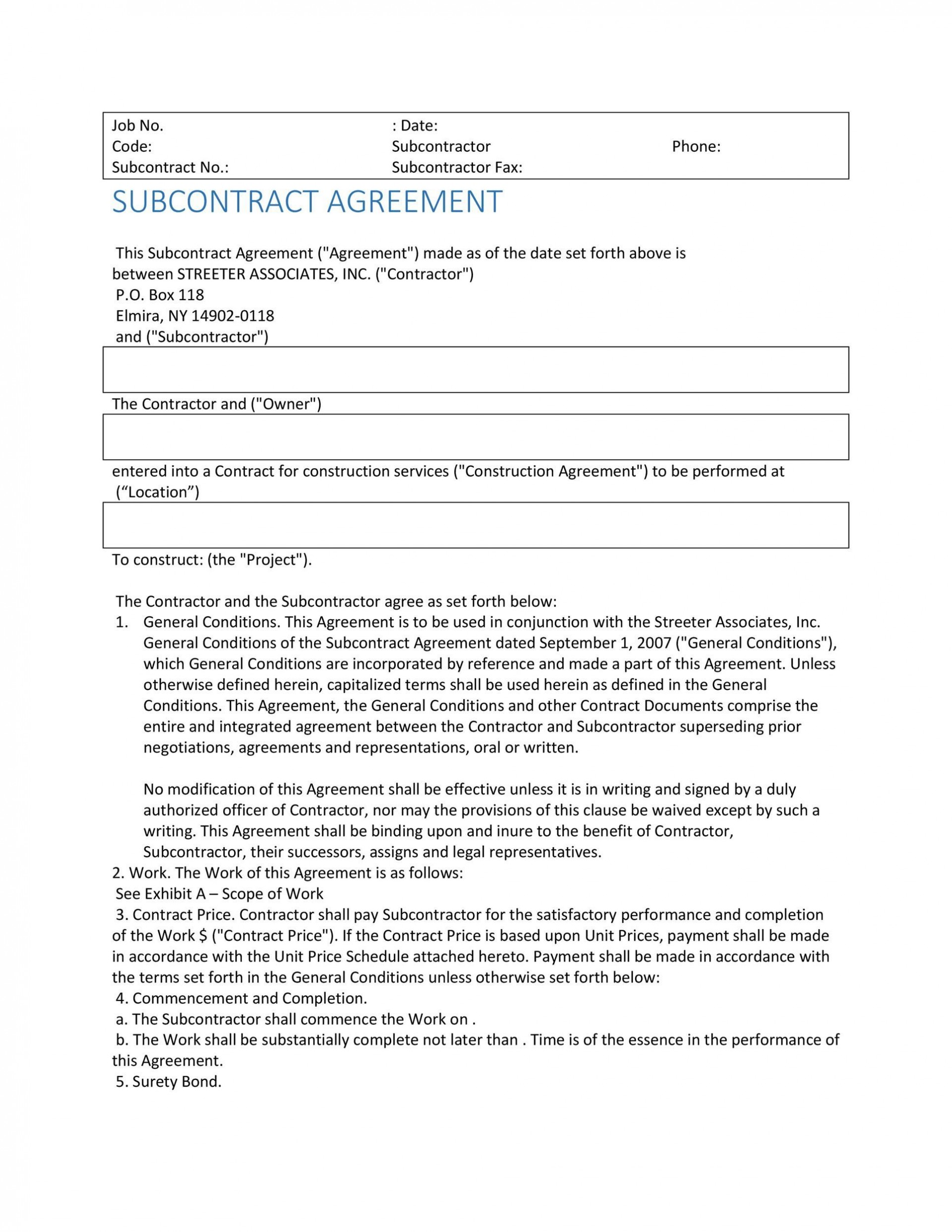 004 Singular Subcontractor Contract Template Free Example  Uk1920