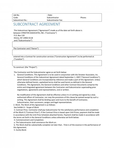 004 Singular Subcontractor Contract Template Free Example  Uk480