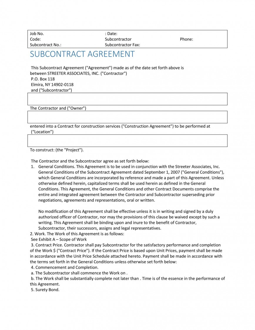004 Singular Subcontractor Contract Template Free Example  Uk868